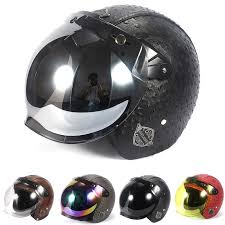 vintage leather motorcycle helmet open face harley helmets motorcycle chopper bike helmet with flip up lens bubble visor shield motorcycle helmets dot