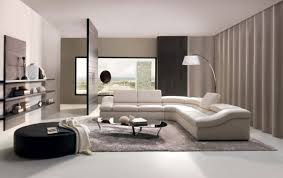 beautiful modern living room design ideas come with white sectional sofa with cushion and chrome floor