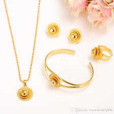 2019 14k yellow solid fine gold filled jewelry set bride glaze multichamber lace pendant necklace bangle earring ring african sets multichamber from