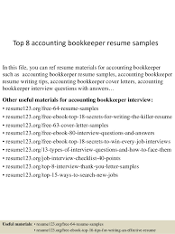 top 8 accounting bookkeeper resume samples in this file you can ref resume materials for bookkeeper resume examples