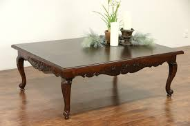 country french vintage hand carved ash oak coffee table