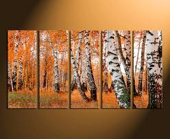 5 piece canvas wall art orange scenery canvas photography home decor trees canvas on 5 piece canvas wall art trees with 5 piece wall decor orange panoramic huge canvas print scenery