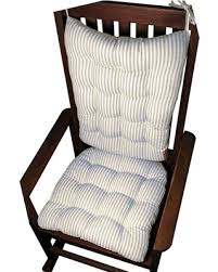 blue rocking chair. Ticking Stripe Navy Blue Rocking Chair Cushion Set, Latex Foam Fill, Standard R