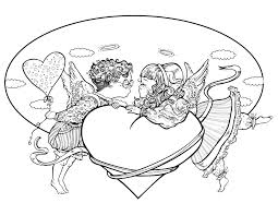 Carte De Saint Valentin Anges Colorier Artherapie Ca