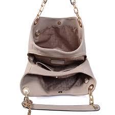 michael kors fulton large leather shoulder bag grey