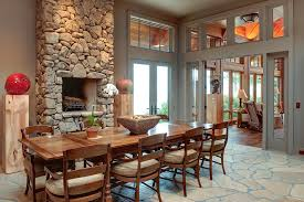faux stone fireplace dining room rustic with apples baseboards clerestory neutral image by moon bros inc