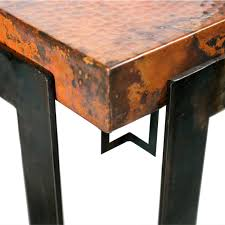 steel strap rectangle dining table with copper top within plans 8