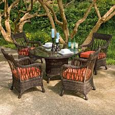 wicker outdoor dining table and chair set