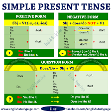 English Tense Structure Chart Structure Of Simple Present Tense English Study Page