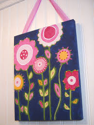 Painting For Kid Bedrooms Flower Garden Canvas Painting 11 X 14 Original Handmade Girl Room