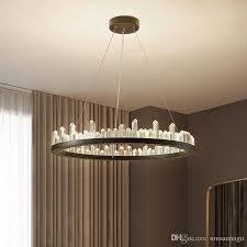 modern crystal chandeliers american round chandelier lights fixture led dimmable dining room living room hanging lamps 3 years warranty vintage chandeliers