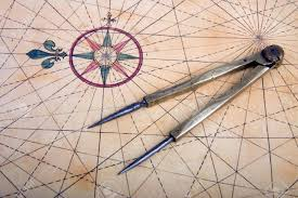 Brass Chart Dividers Ancient Brass Dividers On A Nautical Chart