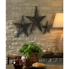 metal star wall decor: punched bronze metal star wall decor set of