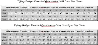 Tiffany Gowns Size Chart Womens Gowns And Formal Dresses