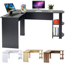 l shaped home office desk. L-Shaped Home Office Computer Desk Study Working Corner PC Table With 2 Shelves L Shaped