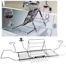 bathtub rack bath caddy extension wine glass holder ipad book stand