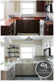 Budget Kitchen Makeover - DIY Faux Marble Countertops. Painted with the  'White Diamond'