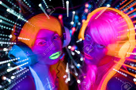 Clothes Under Black Light 2 Sexy Cyber Glow Raver Women Filmed In Fluorescent Clothing