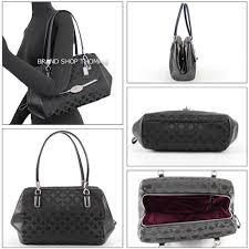 Authentic COACH Madison Op Art Sateen Small Madeline East West Satchel Handbag  Purse Shoulder Black Canvas Leather CC Logo 25638-SBKBK E W Satin Women ...