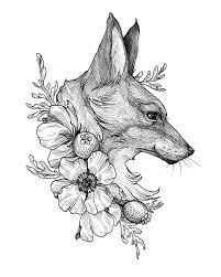 Fox Print лис татуировки лисы эскиз тату тату минимализм