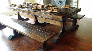 real rustic kitchen table long: bench solid long real wood dining table with benches standard