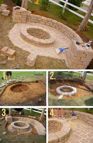 stone fire pit ideas. Stone Firepit With Half Wall Fire Pit Ideas