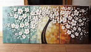 wall art paintings beautiful modern group oil painting 3 panel art canvas painting flowers in spring