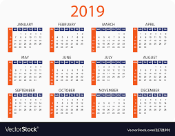 Horizontal Calendar Horizontal Pocket Calendar On 2019 Year Simple