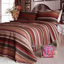 enthusiasm desert 1 cotton 3pc vermicelli quilted striped printed quilt set full queen size