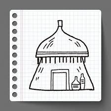 Afrikaanse Huis Doodle Stockvectors Rechtenvrije Afrikaanse Huis