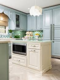 Freestanding Linen Cabinet Kitchen Cheerful Green Kitchen Theme With Brick Backsplash And