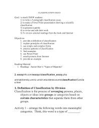 Simple 5 Paragraph Essay Examples Classification Essay Doc