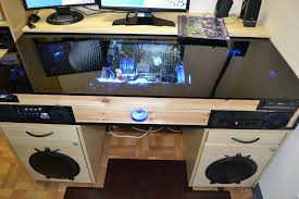 picture of desk with built in pc