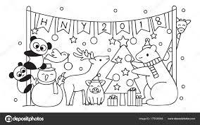 Knippen Van Dieren In Kerstfeest Stockvector Somjaicindy At Gmail