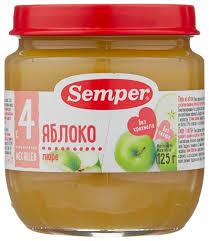 <b>Пюре Semper яблоко</b> (с 4 месяцев) 125 г, 1 шт — купить по ...