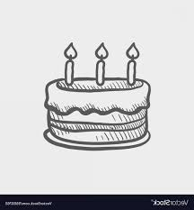 Birthday Cake With Candles Sketch Icon Vector Soidergi