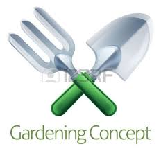 Small Picture A Crossed Garden Fork And Trowel Spade Gardeners Gardening Tools