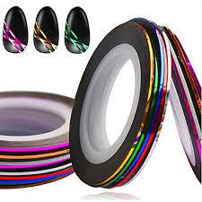 <b>10pcs</b> set hot 1mm mixed <b>colors nail</b> art <b>foil</b> stripping tape line diy ...