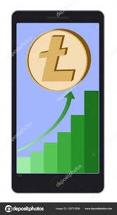 Litecoin Growth Chart Litecoin Coin With Growth Chart On A Phone Screen Stock