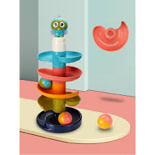 Children's interesting track gliding, rolling ball tower turning, <b>happy</b> ...