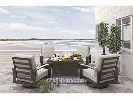 fire pit table with chairs. Cordova Reef Rectangular Fire Pit Table Set With Chairs