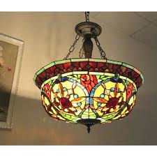 9 light stained glass chandelier