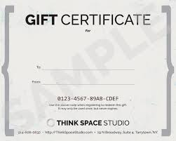 purchase a gift certificate think space studio sample gift certificate