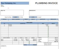 Plumbing Invoice Blank Plumbing Invoice Free Chakrii