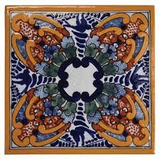 6X6 Decorative Ceramic Tile Jacaranda Design Talavera Mexican Ceramic Tiles Native Trails 82