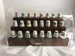 lot of 24 thimbles porcelain small and large 1991 albetine enesco display case 49 99