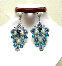 blue teal chandelier earrings peacock style crystal earrings bohemian jewelry statement earrings