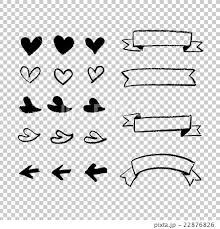 手書き チョークとクレヨンの素材 素材 ハート 矢印 見出しリボン 黒線の