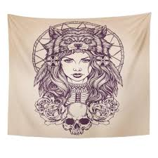 tapestry red tattoo native american girl with wolf headdress lineart indian woman home decor wall hanging for room cool tapestry wall hangings cool wall