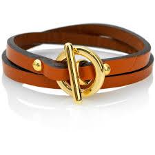 leather wrap bracelet polished gold metal orange